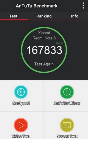 Результаты теста AnTuTu для Xiaomi Redmi Note 8